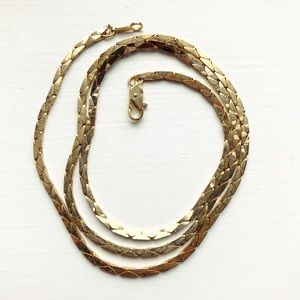 Vintage classic gold cobra chain necklace